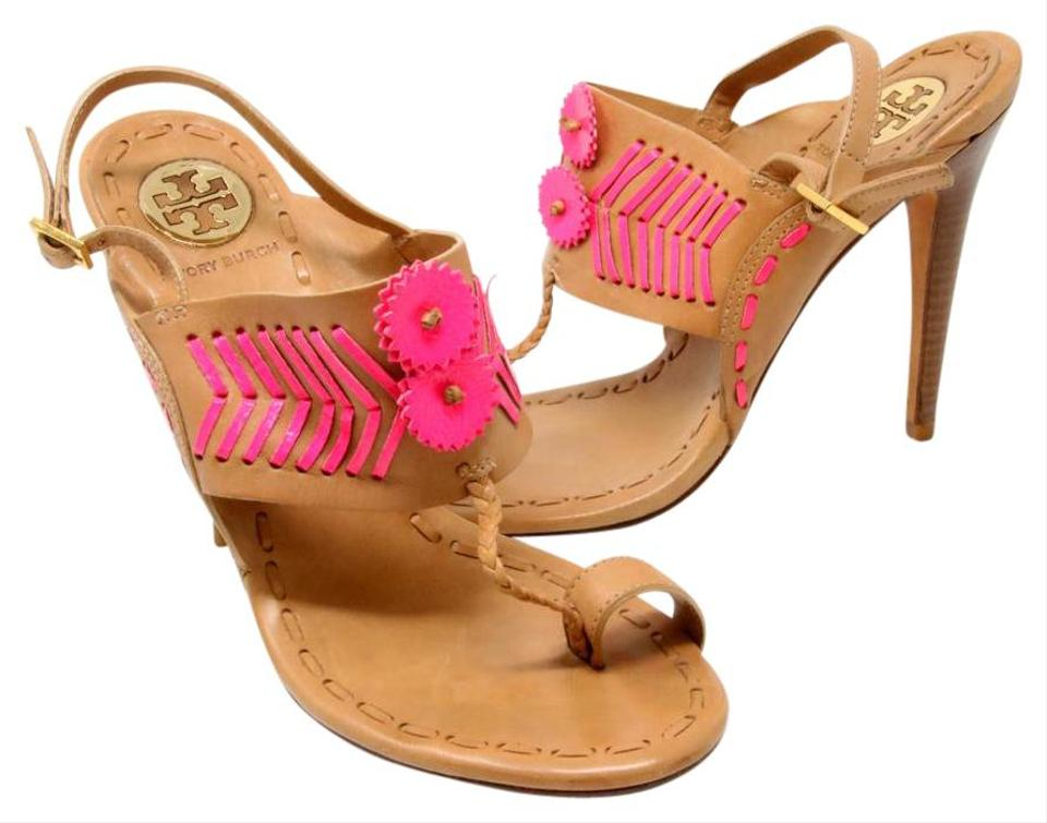 684e0c63379 Tory Burch Tan and Pink Signature Tanya Toe Ring Slingback Strap Leather  Heel Sandals Pumps Size US 8.5 Regular (M