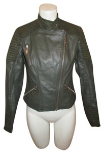 Kensie Faux Leather Faux Suede Moto army green Jacket