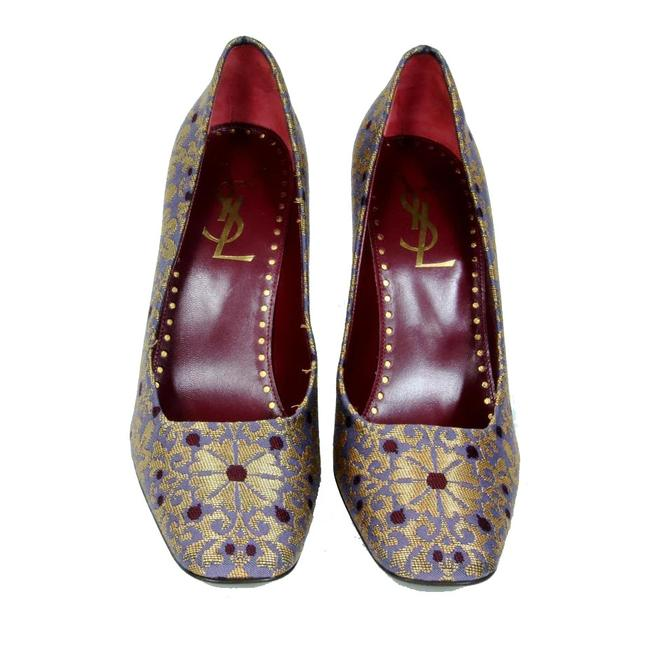 Item - Gold Red Purple Tom Ford For Yves Ysl Square-toe Brocade Pumps Size US 10.5 Regular (M, B)