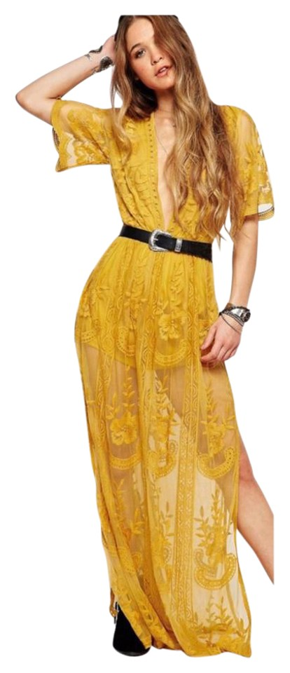 88a7e11b6bc Honey Punch Chloe Yellow Embroidered Lace Maxi  Romper Night Out Dress