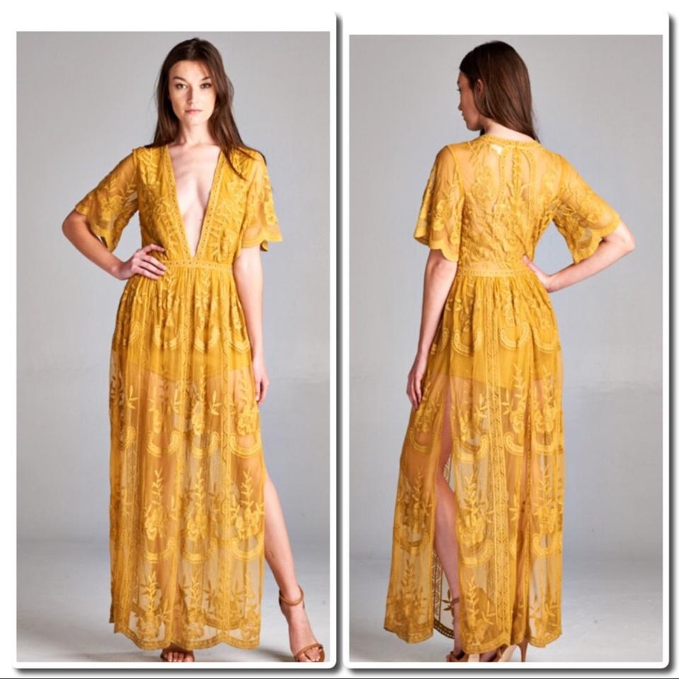 95a3df3a385f Honey Punch Chloe Yellow Embroidered Lace Maxi  Romper Long Night ...
