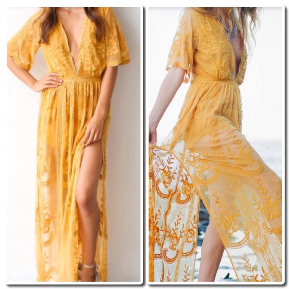 e4b02e3802f Honey Punch Chloe Yellow Embroidered Lace Maxi  Romper Long Night ...