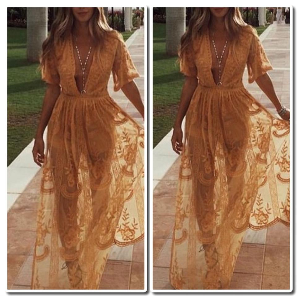51bd37735881 Honey Punch Chloe Yellow Embroidered Lace Maxi  Romper Long Night ...
