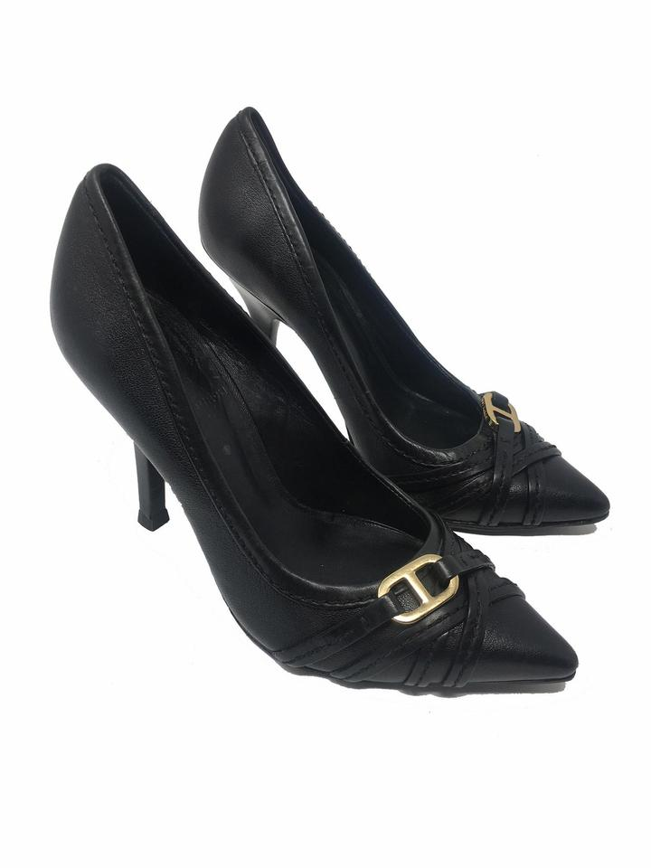8b3e650602ad Tory Burch Black Signature Gold Hardware Leather High Pumps Size US ...