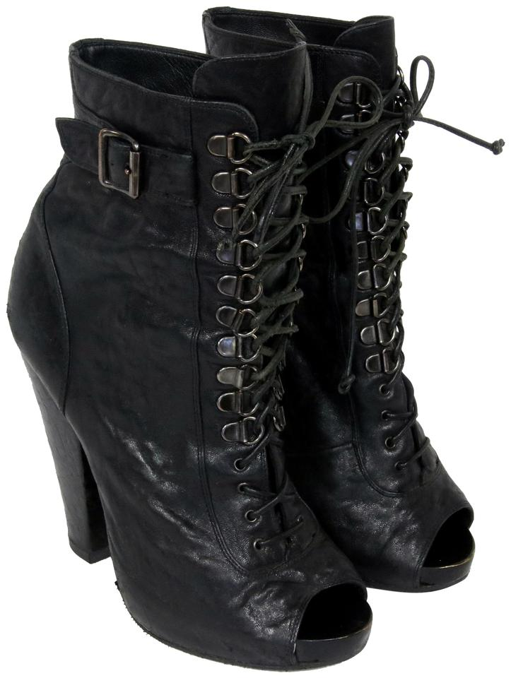 599ebb1ca6ba Givenchy Black Calf Ankle Leather Open Toe Goth Runway 36.5 Boots Booties