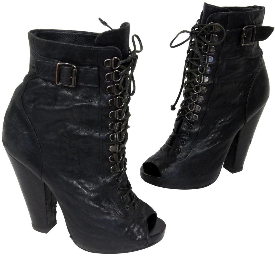 0752777218f Givenchy Black Calf Ankle Leather Open Toe Goth Runway 36.5 Boots/Booties  Size US 6.5 Regular (M, B) 92% off retail