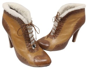 Alexander McQueen Fur Sheepskin Ankle Skull Winter Brown and Tan Boots