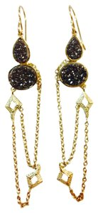 Melinda Maria 14K gold and black druzy earrings