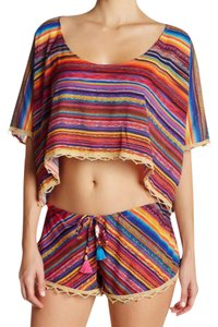 ale by alessandra Scoop Neck Dolman Short Sleeves Back Pendent Embroidered Trim Beaded Trim Top Colorful