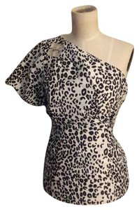 WD.NY Animal Print One Shoulder Jewel Top Multicolored
