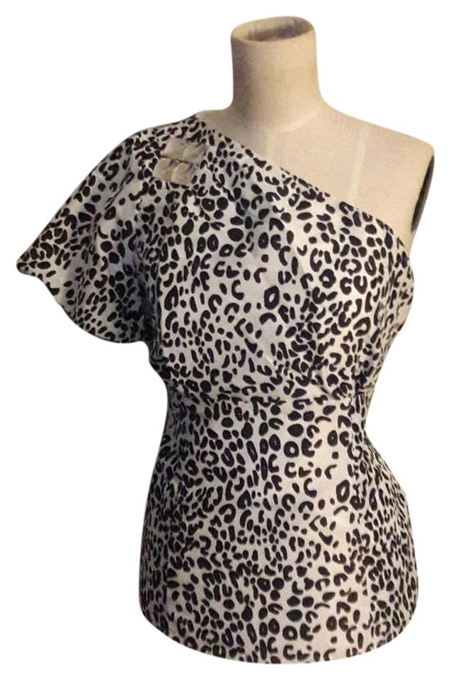 fb63435489aa7 NY Animal Print One Shoulder Jewel Top Multicolored Image 0 ...