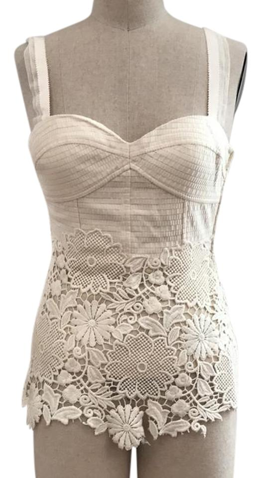 Cream Lace Tank Topcami
