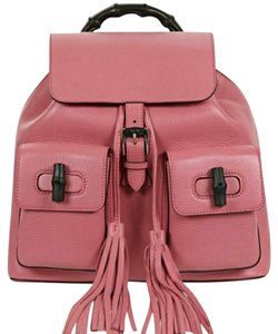 Gucci Leather Bamboo Tassel Backpack