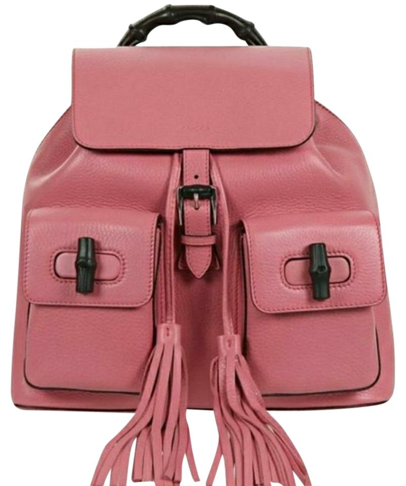 be3732c48ed Gucci Nwts Iconic  Bamboo Handle Bubblegum Pink Leather Backpack ...