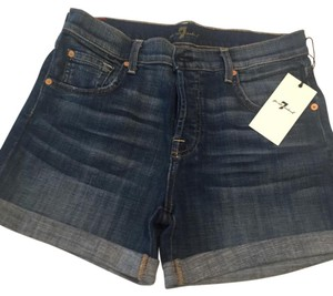 7 For All Mankind Cuffed Shorts Blue