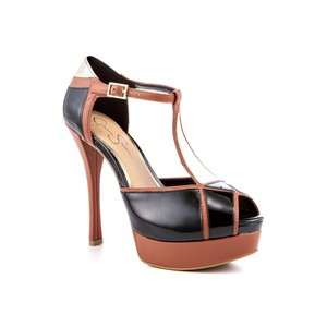 Jessica Simpson Colorblock T-strap Heel Black and Brown Platforms