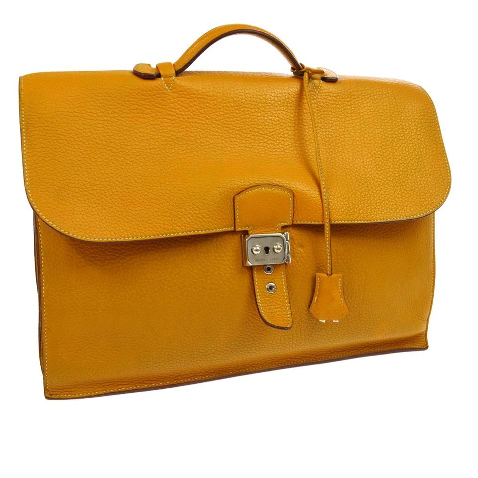 Hermès Business Briefcase Gold Hw Orange Clemence Leather Satchel ... 1fee445074