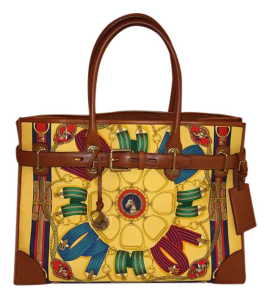 4dfa43362 Ralph Lauren Spectator Baramil Saddle Tan Leather & Colourful Fabric Print  Yellow Background Textile Gold Hardware