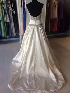 Christina Wu Ivory Silver Satin with 15570 Traditional Wedding Dress Size 6 (S)