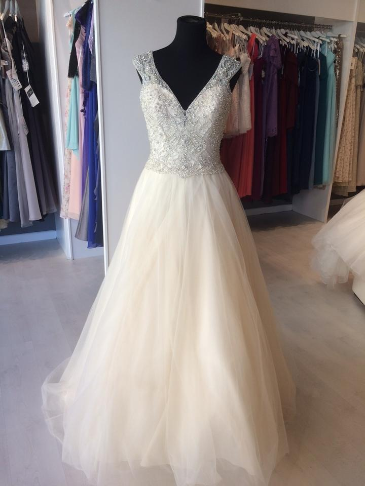Madison James Gold Silver Top Tulle Skirt Mj200 Formal Wedding Dress Size 6 S