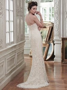 Maggie Sottero Ivory Over Light Gold Beaded Lace Clara Vintage Wedding Dress Size 4 (S)