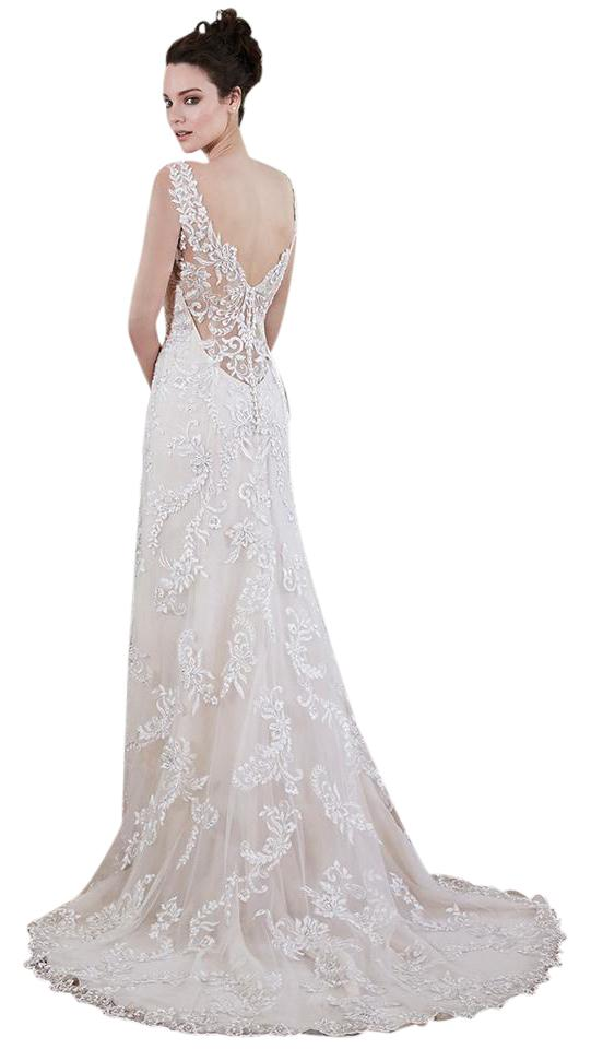 Maggie Sottero Ivory Over Verina Marie Modern Wedding Dress Size 6 S