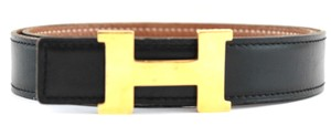 Herms Noir and Gold 24mm Reversible Constance Belt