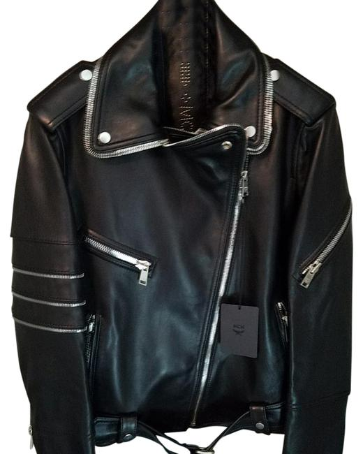 MCM Black Nwts Msrp Med/Lrg Womens Leather Rider Jacket Size 12 (L) MCM Black Nwts Msrp Med/Lrg Womens Leather Rider Jacket Size 12 (L) Image 1