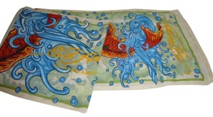 Ed Hardy Womens Ed Hardy Koi Fish Japanese Goldfish Ocean Waves Long Sheer Scarf