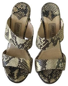 Jimmy Choo beige and brown Faux lizard Sandals