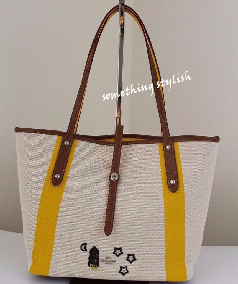 69304ea7ee638 Coach Market In with Souvenir Embroidery Beach 57076 Chalk Yellow Canvas  Tote - Tradesy