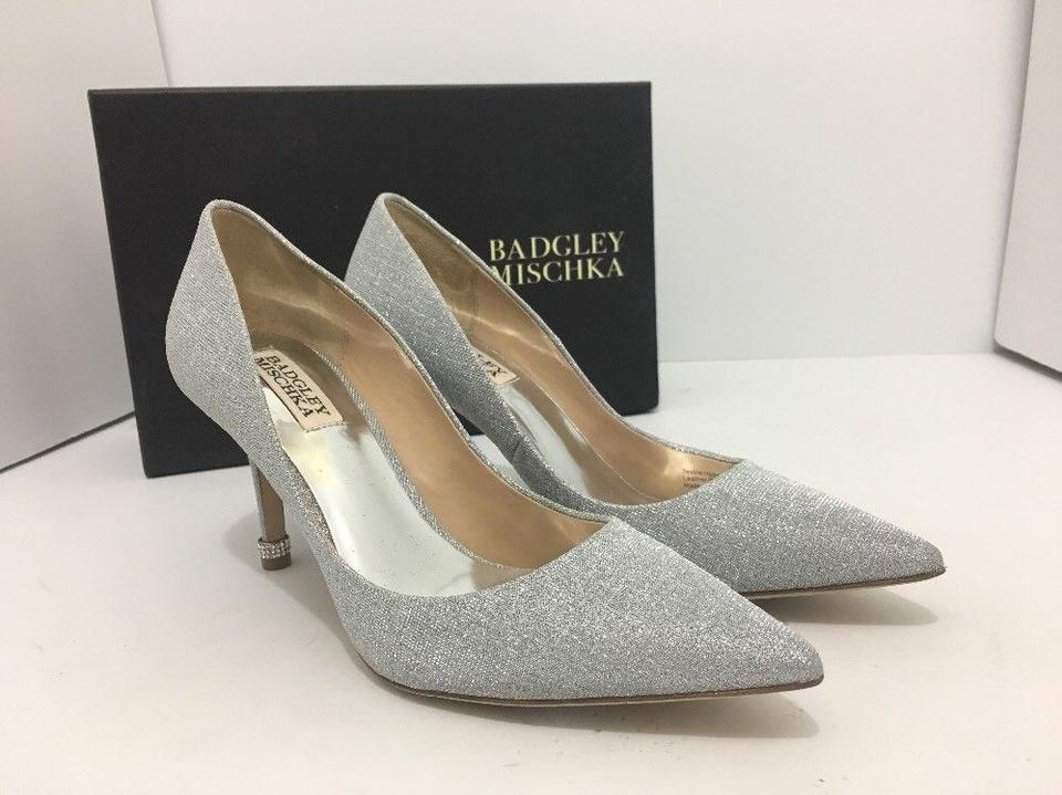 f8165930c58 Badgley Mischka High Heels Evening Bridal Pumps Silver Woven Metallic  Fabric Formal Image 11. 123456789101112