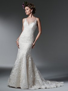 Sottero and Midgley Ivory Over Light Gold Lace Silvia Sexy Wedding Dress Size 4 (S)