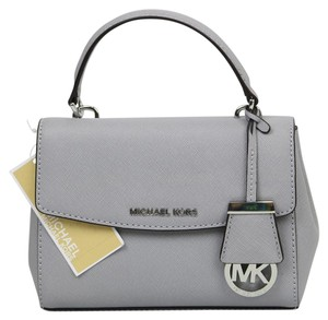 Michael Kors Silver Hardware Saffiano Leather Mk Hangtag Cross Body Bag