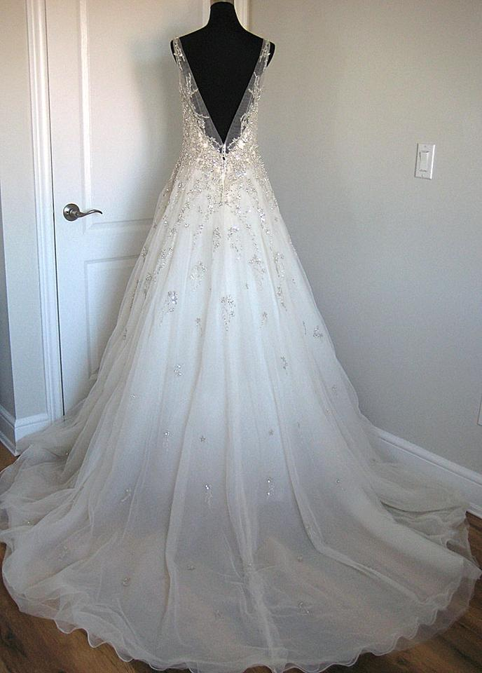 Sottero and Midgley Ivory/Pewter Accent Swarovski Crystals On Tulle ...