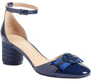 Tory Burch Bow Round Marine Navy Pumps