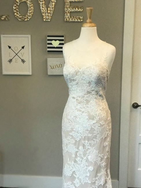 Item - Ivory/Nude Lyon Lace Illusion Tulle Stretch Poly Charmeuse Zella Wedding Dress Size 8 (M)