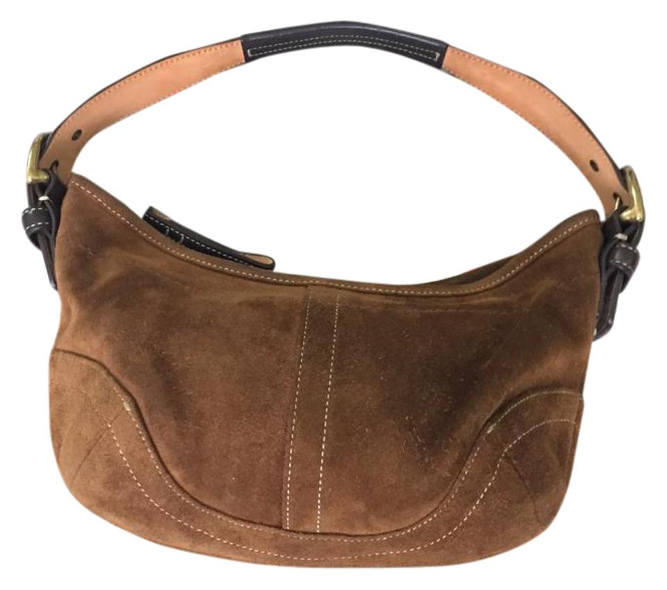 Coach Suede Leather Small Brown Shoulder Bag