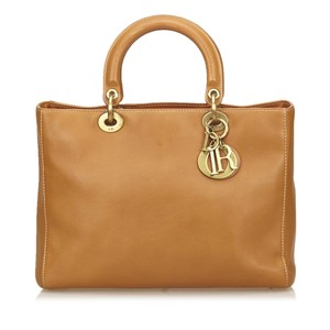 Dior Lady Charms Gold Hardware Tote in Camel Brown