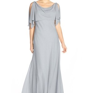 Jenny Yoo Dusty Blue Polyester Shimmer 'devon' Glitter Knit Gown with Detachable Caplet Formal Bridesmaid/Mob Dress Size 10 (M)