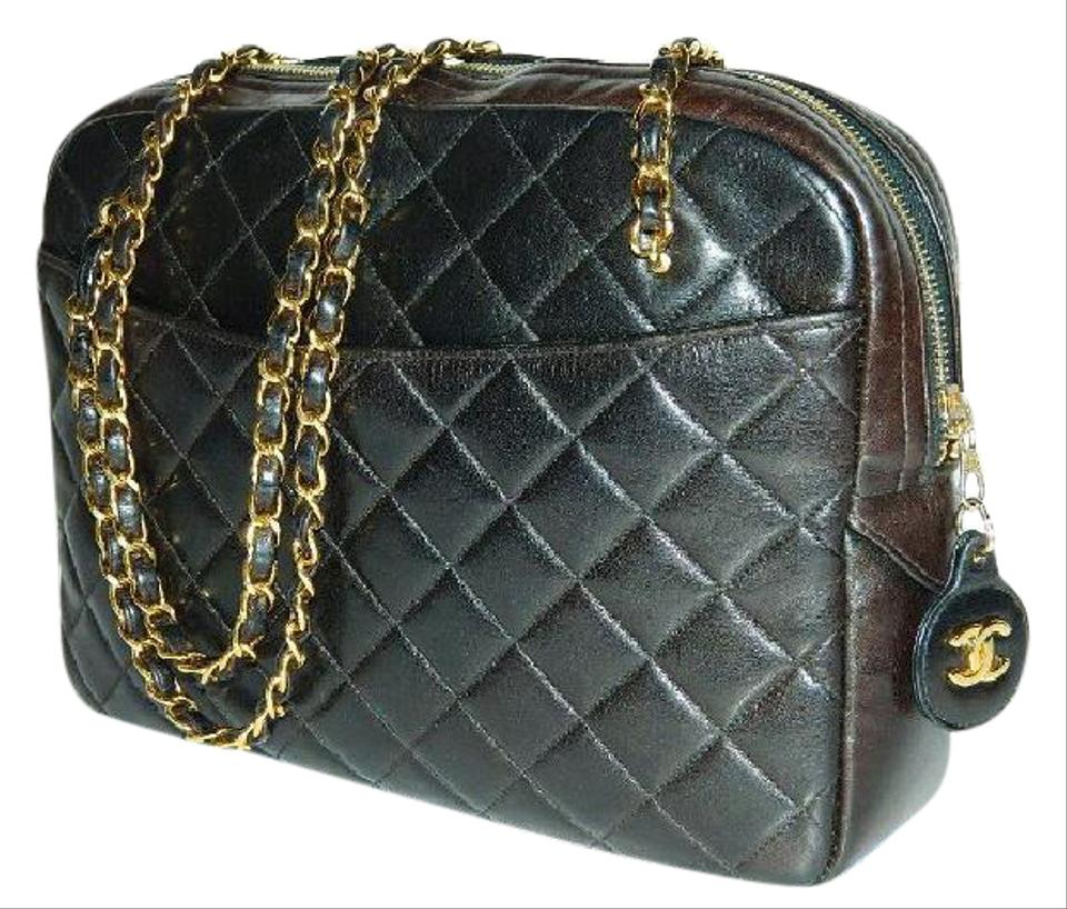 e363f4856e3d4f Chanel Double Strap Black & Chocolate Lambskin Leather Shoulder Bag ...