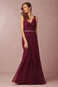 BHLDN Black Cherry Lace and Tulle Overlay Fleur Formal Bridesmaid/Mob Dress Size 8 (M)
