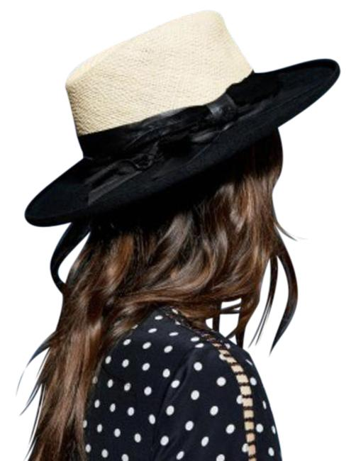 Item - New Two-tone Straw and Wool with Feathers and Leather Hat