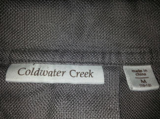 Coldwater Creek 100% Rolled Trim Sleeve Softened Peacoat Casual Light Beige/Taupe Linen Jacket