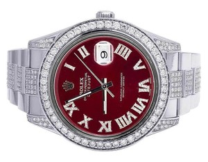 Rolex Mens Datejust Il 116300 Red Dial Iced Out 41MM Diamond Watch 10.5 Ct