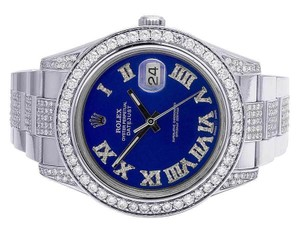 Rolex Mens Datejust Il 116300 Blue Dial Iced Out 41MM Diamond Watch 10.5 Ct