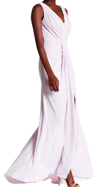 Item - Pale Lilac Ruch Knit A-line Long Formal Dress Size 8 (M)