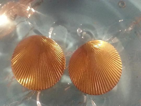 Vintage Vintage, Signed, Monet Gold/Metal Shell Earrings for Pierced Ears
