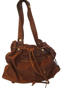 Gustto Studded Leather Tote in Brown