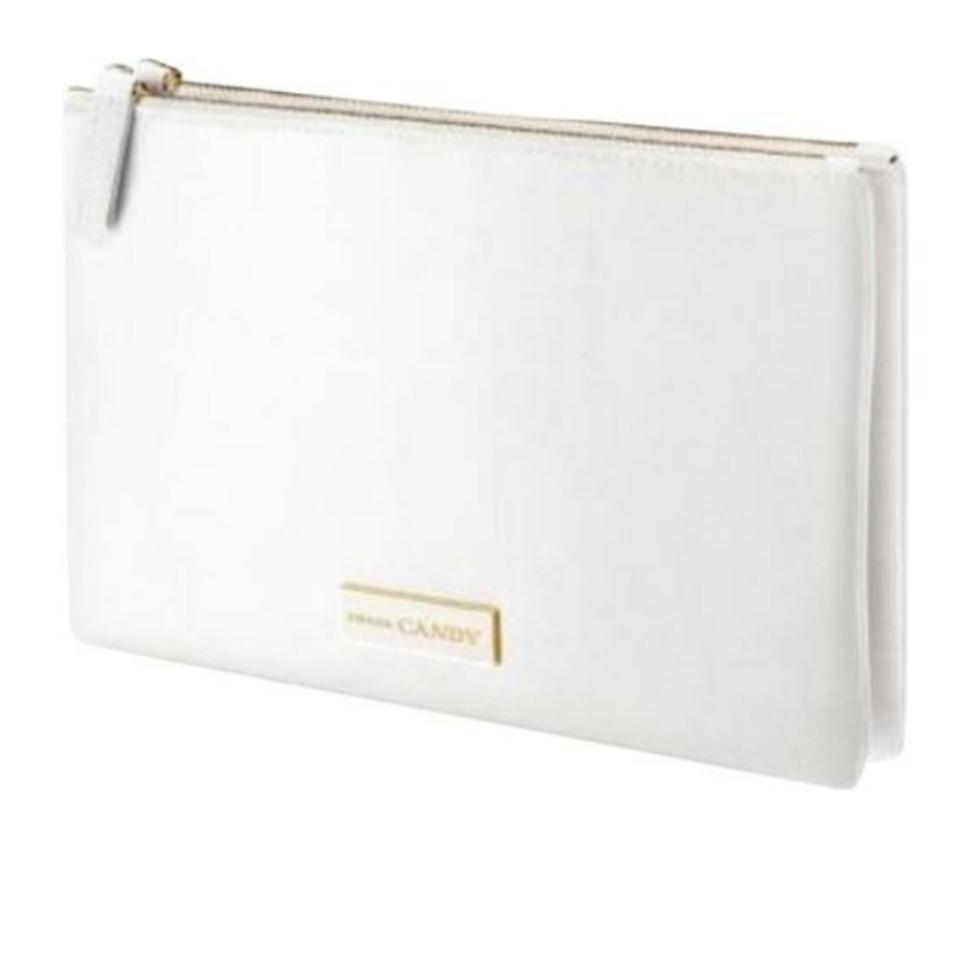 c6183748112d Prada White Candy Kiss Duo Makeup Clutch Pouch Cosmetic Bag - Tradesy